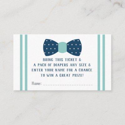 Little Man Diaper Raffle Ticket, Navy, Aqua Enclosure Card
