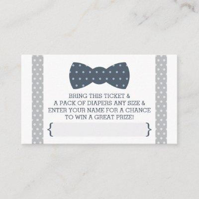 Little Man Diaper Raffle Ticket, Navy Blue, Gray Enclosure Invitations