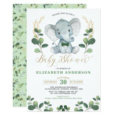 Little Man Elephant Greenery Gold Boy Baby Shower Invitation