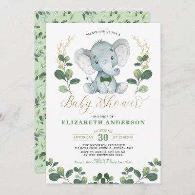Little Man Elephant Greenery Gold Boy Baby Shower Invitation