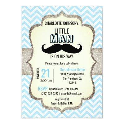 Little Man is on His Way | Mustache Baby Shower Invitations