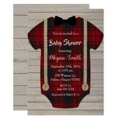 Little Man Lumberjack Boy Baby Shower Invitations