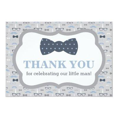 Little Man Thank You Invitations, Bow Tie, Blue, Gray Invitations