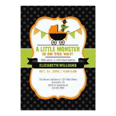 Little Monster Halloween Baby Shower Invitation