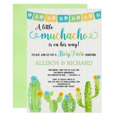 Little muchacho couples fiesta baby shower invitation