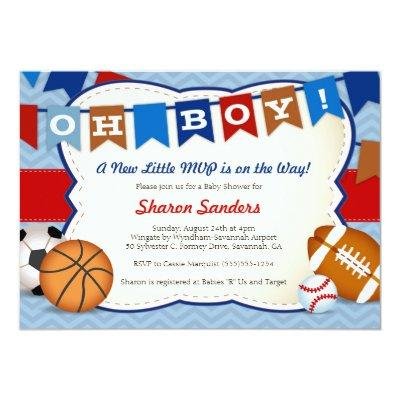 *Little MVP* Sports Themed Baby Shower Invitations