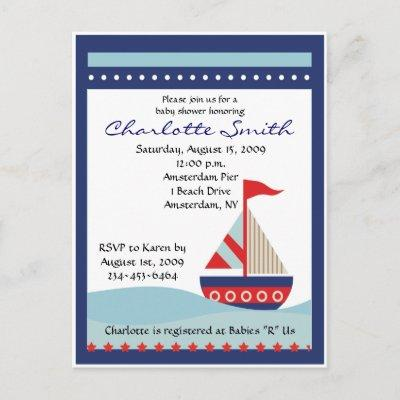 Little Navy Blue Sail Boat Baby Shower Invitations