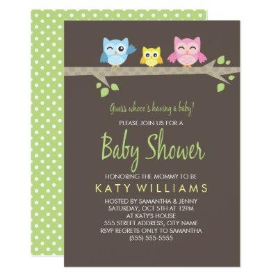 Little Owls Baby Shower Invite