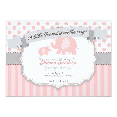 *Little Peanut* Baby Girl Elephant Invitations