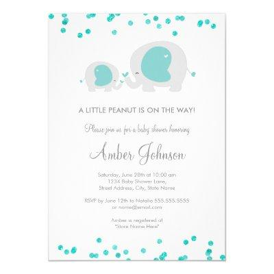 Little Peanut Blue Invitations