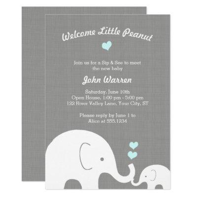 Little Peanut Blue Elephant Boy Sip and See Invitations