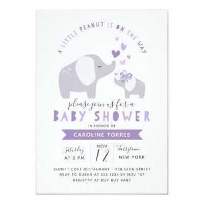 Little Peanut Elephant | Baby Shower | Purple Invitation