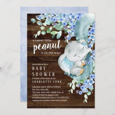Little Peanut Elephant Boys Baby Shower Invitation