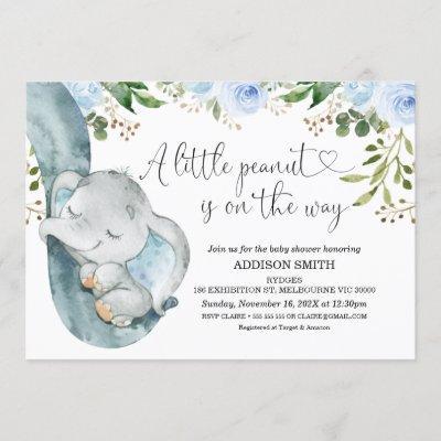 Little Peanut Elephant Trunk Baby Shower Invitation