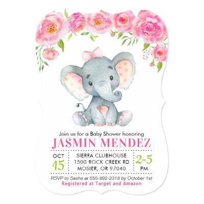 Little Peanut Girl Elephant Baby Shower Invitation