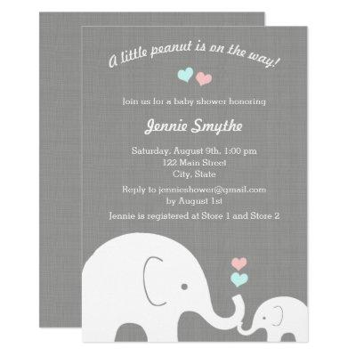 Little Peanut Pink & Blue Elephant Baby Shower Invitations