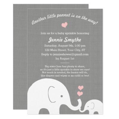 Little Peanut Pink Elephant Girl Baby Sprinkle Invitations