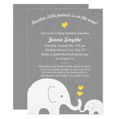 Little Peanut Yellow Elephant Baby Shower Sprinkle Invitations