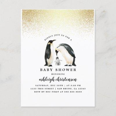 Little Penguin | Winter Gender Neutral Baby Shower Invitation Postcard