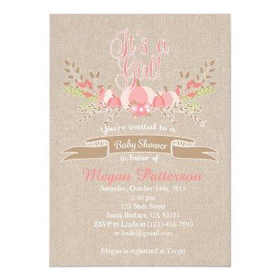 Little Pink Pumpkin Baby Shower Invitation Burlap