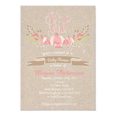 Little Pink Pumpkin Invitations Burlap