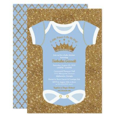 Little Prince Baby Blue & Royal Gold Baby Shower Invitations