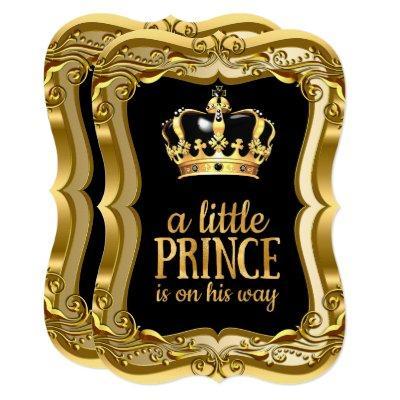 Little Prince Baby Shower Black Faux Gold Foil Invitation
