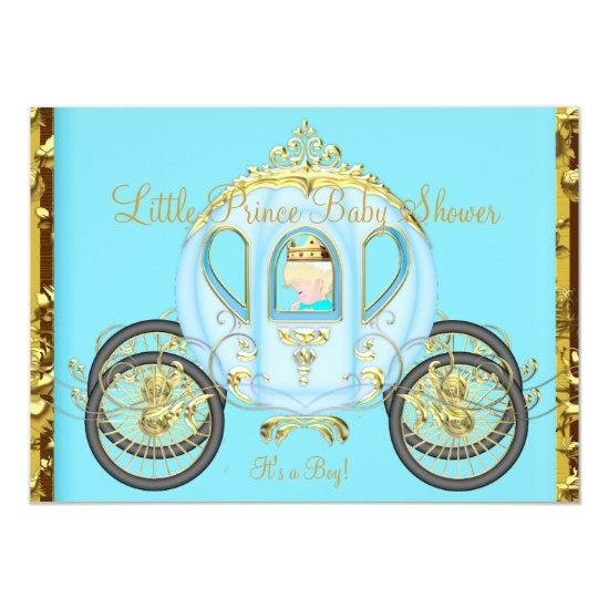 Little Prince Baby Shower Blue Blonde Boy Carriage Invitations
