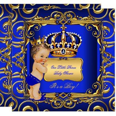 Little Prince Baby Shower Blue Brunette Baby Boy Invitation