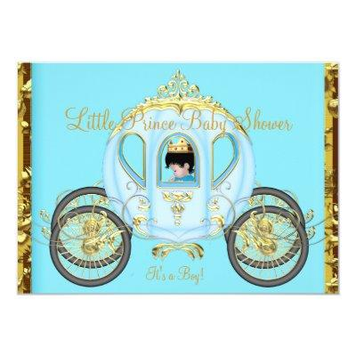 Little Prince Baby Shower Blue Gold Boy Carriage Invitation
