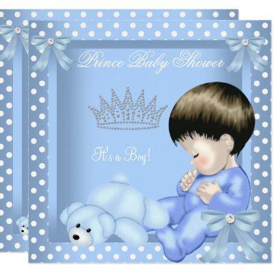 Little Prince Baby Shower Boy Blue White Polka dot Invitations
