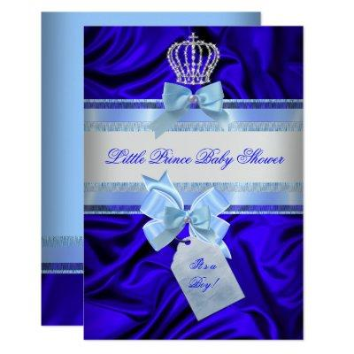 Little Prince Baby Shower Boy Royal Blue 2 Invitation