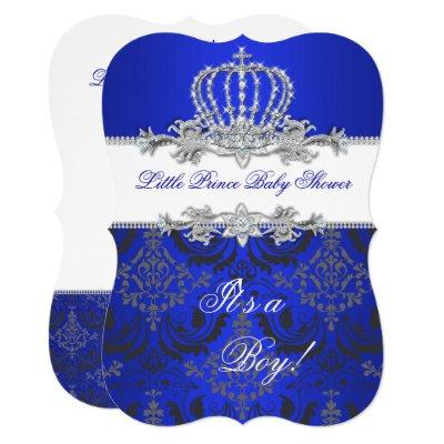 Little Prince Baby Shower Boy Royal Blue Crown 2 Invitations