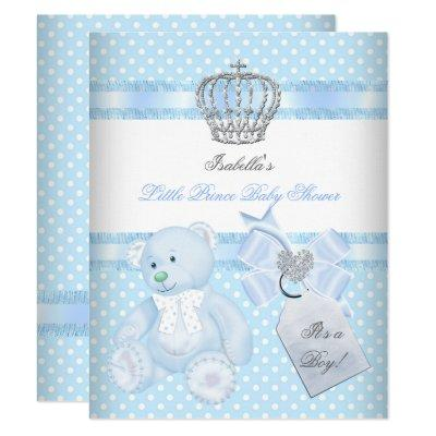 Little Prince Baby Shower Cute Boy Spot Bear Invitation