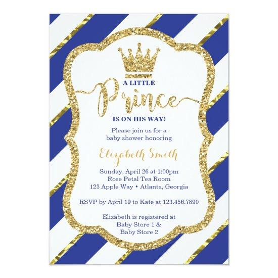 Little Prince , Blue, Gold Invitations