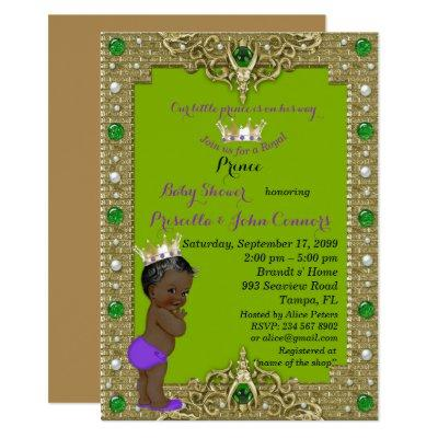 Little Prince Baby Shower Invitations, gold, green Invitations