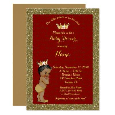 Little Prince Baby Shower Invitations,gold, red Invitations