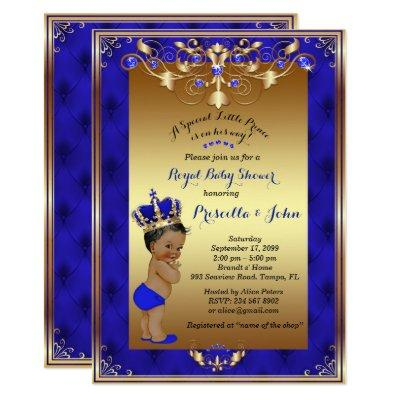 Little Prince Baby Shower Invitations, Royal Blue Invitations
