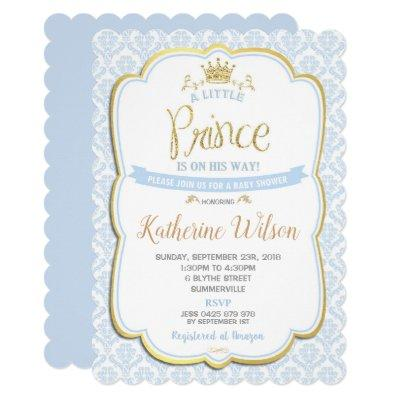 Little Prince Baby Shower Invitations Boy Blue