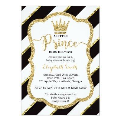 Little Prince Baby Shower Invite, Faux Glitter Invitations