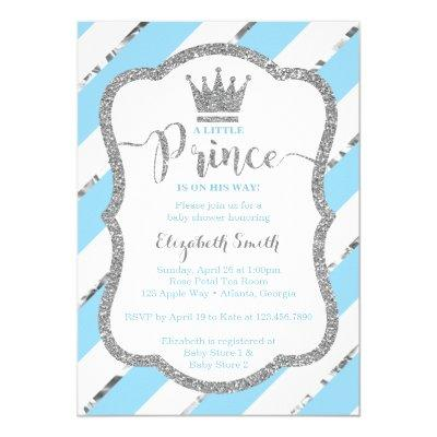 Little Prince Baby Shower Invite, Faux Glitter Invitations