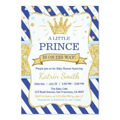 Little Prince Baby Shower Invite Royal blue Gold