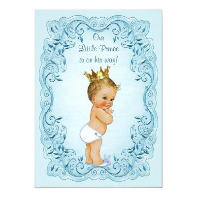 Little Prince Blue Leaves Baby Shower Invitation