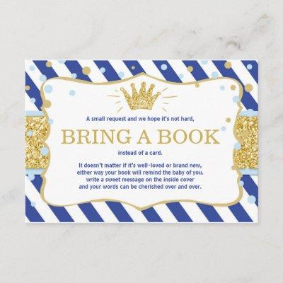 Little prince bring a book Royal blue gold crown Enclosure Card