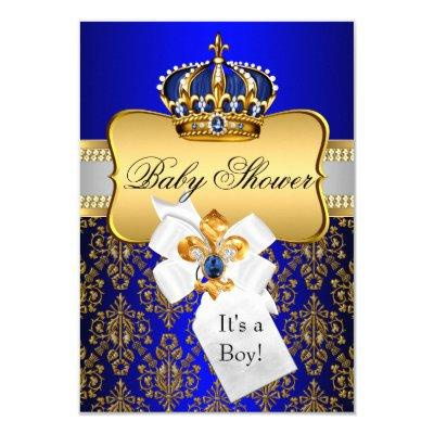 Little Prince Gold Blue Crown Invite