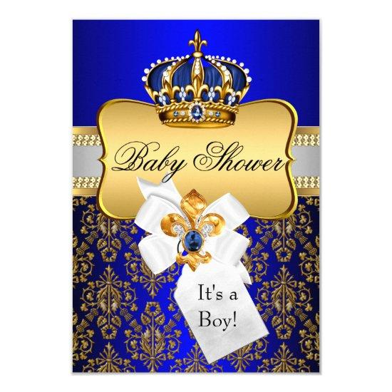 Little Prince Gold Blue Crown Baby Shower Invite Baby Shower