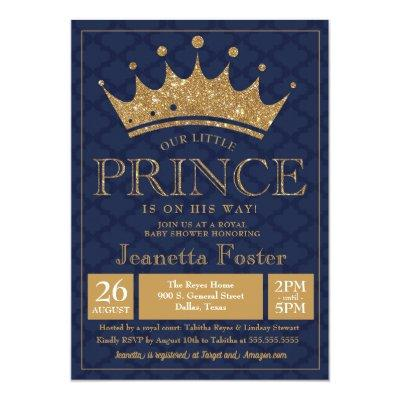 Little Prince Gold Crown Baby Shower Invitations