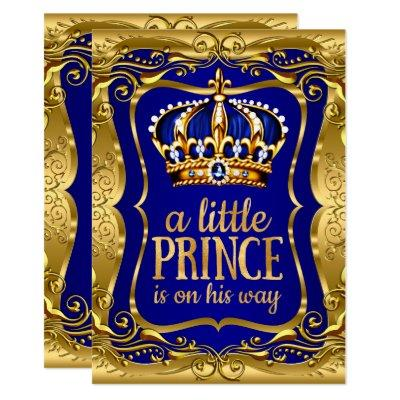 Little Prince on his way Baby Shower Gold Blue Invitation