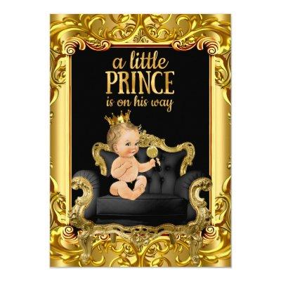 little prince on throne blonde baby invitations