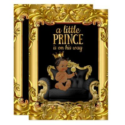 Little Prince on Throne Baby Shower Ethnic Invitations